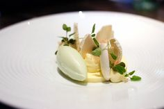 Lime sabayon, cucumber ice cream, cashew macaroons, white chocolate, jasmine