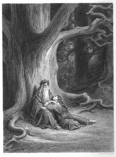 Enchanter Merlin and the Fairy in Forest of Broceliande, from 'Vivien', Poem by Alfred Tennyson - by Gustave Doré (January 6, 1832 – January 23, 1883) French artist, engraver, illustrator and sculptor. Gustave Dore, Illustrations, Illustration Art, Dom Quixote, Roi Arthur, Culture Art, Arthur Rackham, Wood Engraving, Poster On