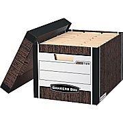 Bankers Box® R-Kive® Letter/Legal Heavy-Duty Storage Box, Woodgrain, 12/Pack (725)