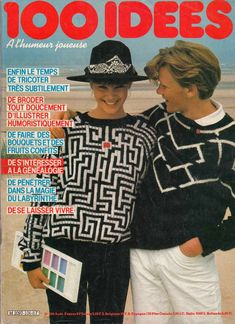 from 100 Idees Knit Fashion, 80s Fashion, French Magazine, Christmas Sweaters, Free Pattern, Knit Crochet, Catalog, The 100, Pullover