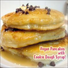 Vegan Pancakes with Cookie Dough Syrup  vegan, plantbased, earth balance, made just right