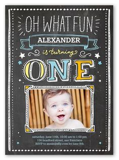 Oh What Fun Boy 5x7 Invitation Card by Yours Truly. Another year older. Another year of fun. Invite all the guests with this stylish firstbirthday invitation. Just add your favorite photos and all the event details.