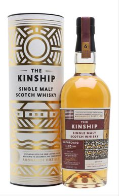 This limited-edition single malt from The Kinship series was released at Feis Ile in 2018 to celebrate the completion of Ardnahoe distillery. Distilled at Bowmore distillery on Islay in it sp. Scotch Whiskey, Irish Whiskey, Bourbon Whiskey, Whisky Islay, Whisky Bar, Brewing Recipes, Bourbon Drinks, Spiritus, Single Malt Whisky