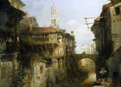 Casas en el rio Darro de Granada 1833 David Roberts