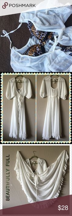 """GORGEOUS Cover Up Maxi Length NWOT Look amazing while using a cover up.  Beautiful maxi, full bottom skirt with ruffled hemline.  Neckline tie, waistline gathered tie, and a lovely back tie.  A showstopper, at the beach, pool party, anywhere!! So lovely could even double as a robe.  One size fits most.  Measurement:  under the arm to the ruffle hem 37"""" Kiverst Swim Coverups"""