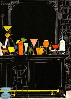 "Cocktails cover illustration (without text) from the Esquire Drink Book by Frederic Birmingham, 1956. Such colorful ways to get soused! I'm still in major favor of pioneering a ""mini"" size of cocktail, where you can taste but not get loaded."