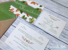 Invitación boda bellotas. Invitación boda otoño. Invitacion boda personalizada.