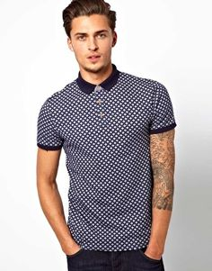 River Island Polo Shirt with All Over Print