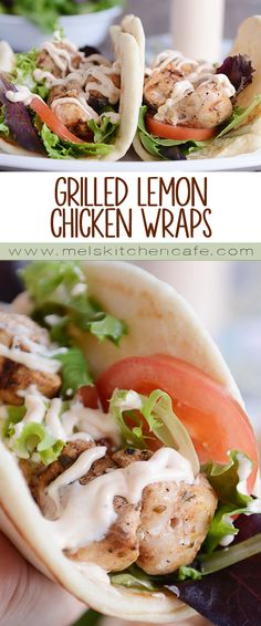 Simple and delicious, grilled lemon chicken wraps are the perfect summer meal. Tender chicken, spicy garlic sauce and soft flatbread - yum!