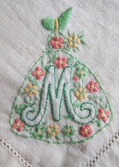 Vintage 30s set of 6 cotton napkins embroidered with crinoline lady and letter M.