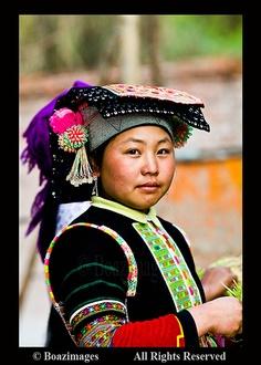A beautiful Yi ( LOLO ) woman.   Photo taken in South Yunnan province,   China