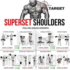 (Swipe Left) Complete 6 days a week superset workout plan!✅ Monday Chest Tuesday Back Wednesday Shoulders Thursday Legs Friday Arms Saturday Abs Sunday Rest Enhance your progre is part of Shoulder workout - Fitness Workouts, Weight Training Workouts, Gym Workout Tips, Fitness Tips, Week Workout, Traps Workout, Back Superset Workout, Deltoid Workout, Tuesday Workout