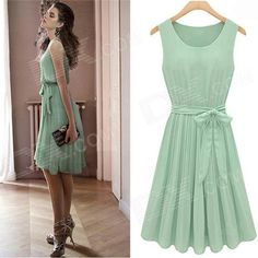 JM1288 elegante vestido de chiffon Mulheres sem mangas - Verde (Tamanho L)