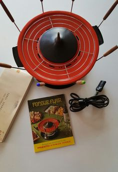 Presto Electric Founde Pot with Forks, Recipie Book, In Box by LynneaMarieVintage on Etsy https://www.etsy.com/listing/483372728/presto-electric-founde-pot-with-forks