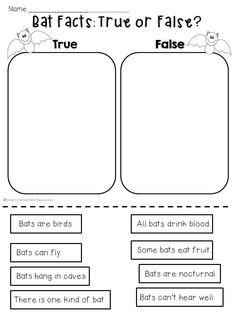 Fantastic Bats mini unit of printable activities! $