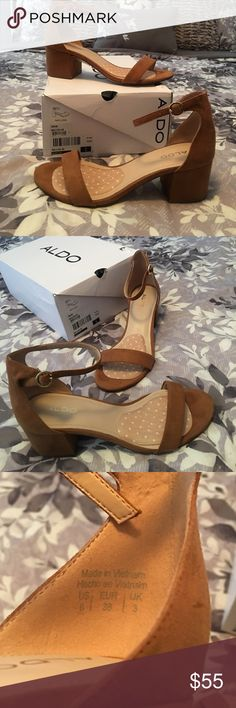 "Aldo 2"" Wedged Heel Brown also wedged heel! Super cute! Never worn! Nothing wrong with them I bought them thought they'd fit me but my feet were too wide! It does not come with the insole :/ If you have any questions please leave a comment! Open to offers! Aldo Shoes Wedges"
