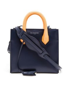 Structured Navy Mini Padlock Shoulder Bag | Balenciaga