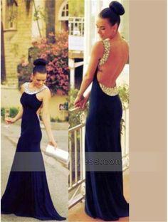 Sheath Cowl Neck Round Beaded Backless Sweep Train Prom Dress
