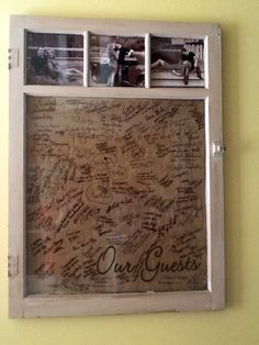 Window guest book. I like the pictures at the top!!