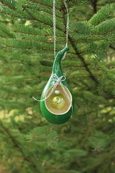 Glittery Green Gourd Ornament with Hanging Glass Ornament by NaturesOfferings on Etsy.com
