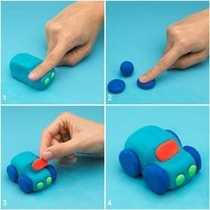 Making animals out of play dough with kids - instructions-dekoking-com- Tiere aus Knete mit Kinder basteln – Anleitung-dekoking-com Making animals out of play dough with kids – instructions-dekoking-com - Clay Crafts For Kids, Kids Clay, Car Cake Tutorial, Fondant Tutorial, Fondant Figures, Decoration Patisserie, Fondant Animals, Fondant Cake Toppers, Fondant Cakes Kids