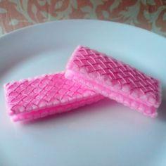 Pink wafers - felt food
