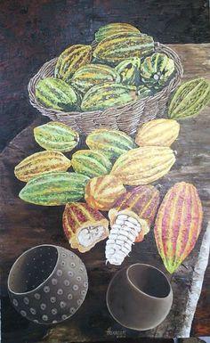 Canasto de cacao y jícaras óleo sobre tela 110x70 cm Autor: Homero Magaña