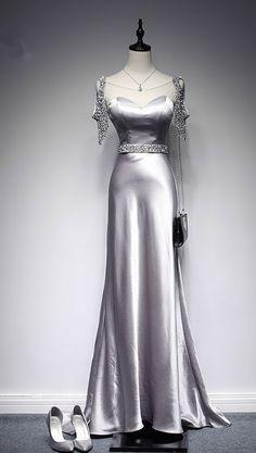 Modern A - ligne party dress grey space long women formal evening dress long evening dress
