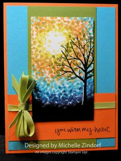 Bright Sky Stampin' Up! Card created by Michelle Zindorf using the Sheltering Tree Stamp set.