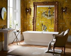 luxury bathroom with Blenheim suite and yellow oriental wallpaper Heritage Bathrooms