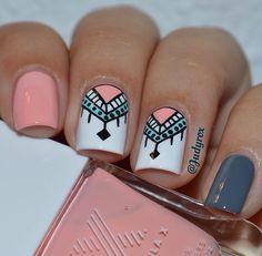 Cinza e rosa unhas cinzas, melhores unhas, unhas decoradas faceis, unhas pintadas,