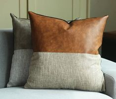 Designer Faux Leather Pillow Cover Kdays Halftan Pillow Cover Decorative For Couch Throw Pillow Case Handmade Cushion Covers Brown Cushion - ファブリック - Cool Decorative Pillows Couch Cushion Covers, Diy Pillow Covers, Handmade Cushion Covers, Handmade Cushions, Decorative Pillow Covers, Decorative Cushions, Duvet Covers, Sofa Couch, Couch Cushions