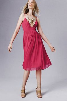 Marana Chiffon Dress. Love the lines of this dress combined with that gorgeous statement necklace. Thicker straps would be more ideal, though (to avoid needing a strapless bra!).