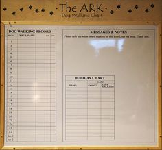 Custom Made And Laser Engraved Dog Walking Chart For Ashbourne Animal Welfare