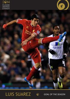 Luis Suarez wins the Goal of the Season accolade for his 40-yard volley against Norwich City in December #LFCAwards