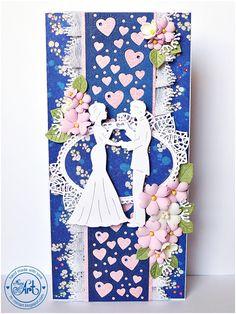 MiniArt - hand made with love: Ślubna karteczka w granacie i różu - DT Craft Passion