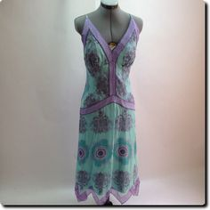 Nicole Miller Teal and Purple Beautiful Silk Dress 10