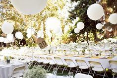 Big round balloons.  Simple and beautiful.  Table numbers attached to balloon string.