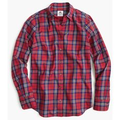J.Crew Thomas Mason Festive Plaid Shirt ($225) ❤ liked on Polyvore featuring tops, plaid shirt, long tops, night out tops, party tops and tartan shirt