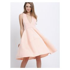 Deep V Neck Backless Flare Dress ($22) ❤ liked on Polyvore featuring dresses, backless dresses, pink fit-and-flare dresses, flared dresses, pink backless dress and pink dress