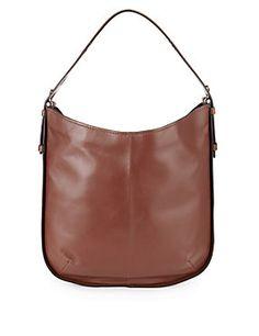 Bottle Green Leather Hobo Bag