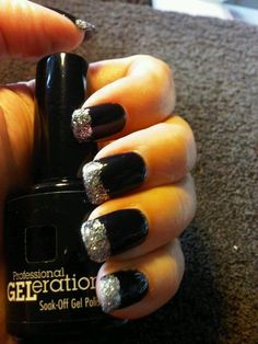 Jessica GELeration in Sunset Blvd. with silver glittered tips.