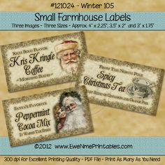 Instant Download - Printable Farmhouse Labels - Winter 105 - Digital PDF or JPG File - pinned by pin4etsy.com