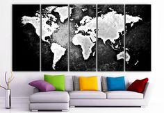 "XLARGE 30""x 70"" 5 Panels Art Canvas Print beautiful World Map Black & White Wall Home Office Decor interior (Included framed 1.5"" depth)"