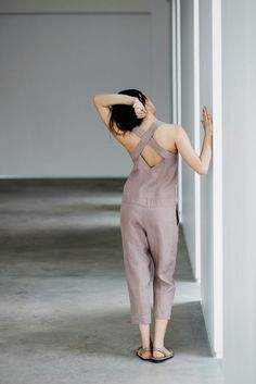 The top of the season - very pale purple jumpsuit from pure linen by MOTUMO. Explore the horizons of ultimate comfort and contemporary fashion