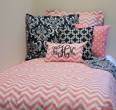Pink & White Chevron Designer Dorm Room Bedding Set | Dorm Bedding