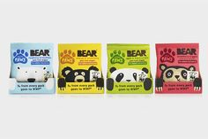 Packaging design and character illustration by B&B Studio for pure fruit range Bear Paws.