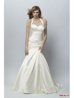 Halter Mermaid Ruched Sweep Train Ivory Luster Satin Wedding Dresses