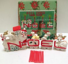 Vintage Christmas Ceramic NOEL EXPRESS Train CANDLE HOLDERS Japan & Original Box