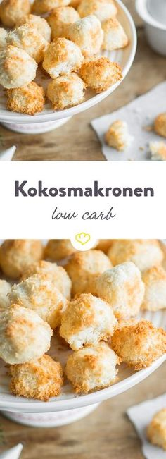Low carb coconut macaroons- Low Carb Kokosmakronen Birch sugar ensures a minimum of carbohydrates. Best of all, it only takes a few minutes to prepare these low carb coconut macaroons. Low Carb Sweets, Low Carb Desserts, Healthy Desserts, Dessert Recipes, Healthy Recipes, Soup Recipes, Cookies Receta, Law Carb, Desserts Sains